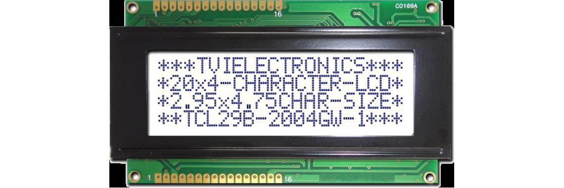 TCL29B-2004-1 Series Dark Blue/White Green Character LCD